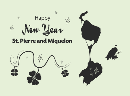 Happy New Year illustration theme with map of Saint Pierre and Miquelon