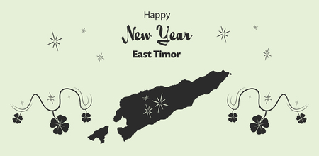 Happy New Year illustration theme with map of East Timor