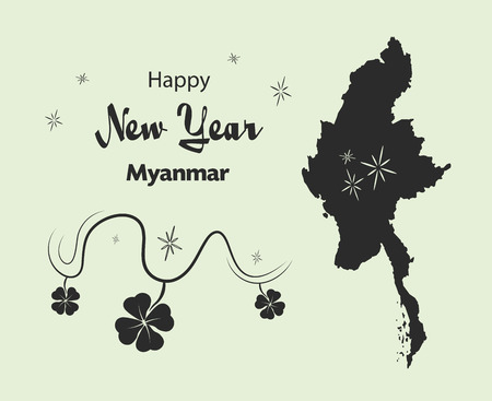 Happy New Year illustration theme with map of Myanmar Illustration