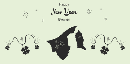 cloverleaf: Happy New Year illustration theme with map of Brunei