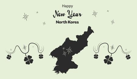 cloverleaf: Happy New Year illustration theme with map of North Korea Illustration