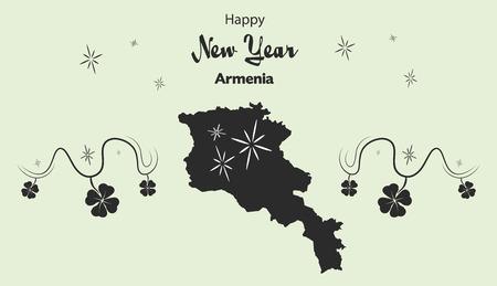 armenia: Happy New Year illustration theme with map of Armenia