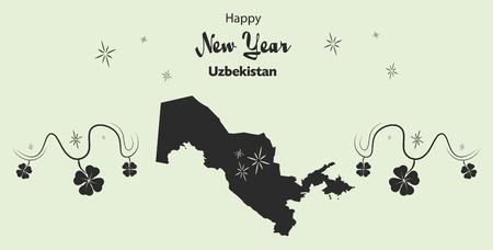 cloverleaf: Happy New Year illustration theme with map of Uzbekistan