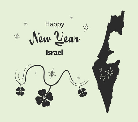 Happy New Year illustration theme with map of Israel Illustration