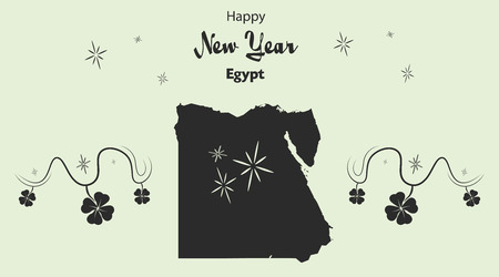 cloverleaf: Happy New Year illustration theme with map of Egypt