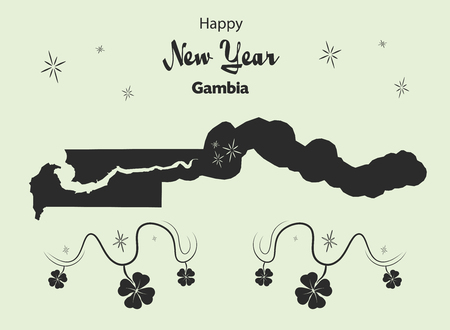cloverleaf: Happy New Year illustration theme with map of Gambia Illustration