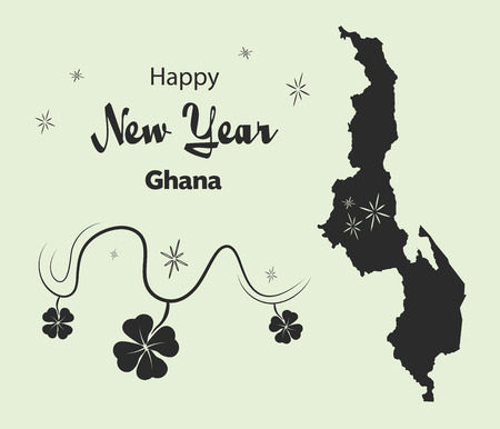 Happy New Year illustration theme with map of Malawi Illustration