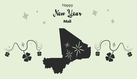 cloverleaf: Happy New Year illustration theme with map of Mali