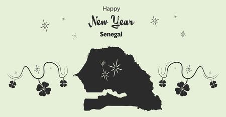 cloverleaf: Happy New Year illustration theme with map of Senegal