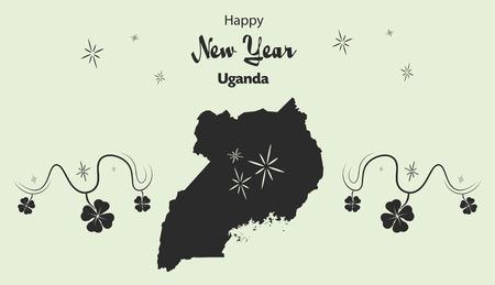 cloverleaf: Happy New Year illustration theme with map of Uganda