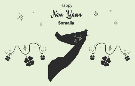 cloverleaf: Happy New Year illustration theme with map of Somalia