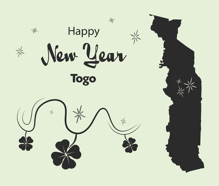 Happy New Year illustration theme with map of Togo
