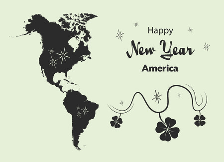 Happy New Year illustration theme with map of America Illustration