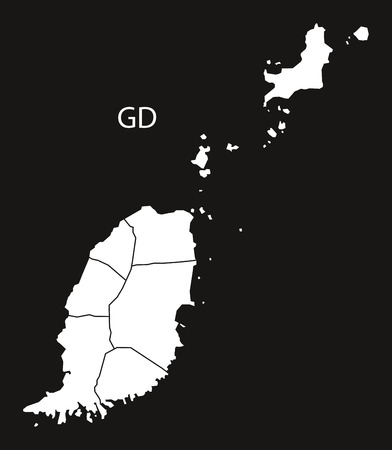 grenada: Grenada with parishes Map black country illustration Illustration