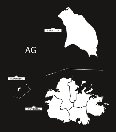 antigua and barbuda: Antigua and Barbuda regions Map black Illustration