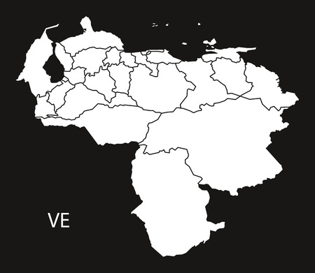 mapa de venezuela: Venezuela federal states Map black illustration
