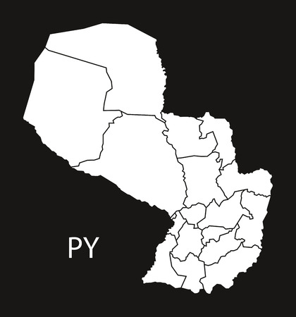 counties: Paraguay departments Map black illustration