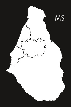 counties: Montserrat regions Map black and white illustration
