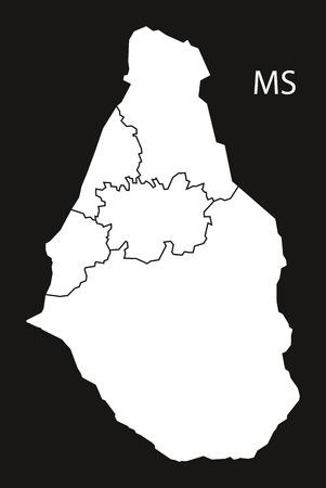 Montserrat regions Map black and white illustration