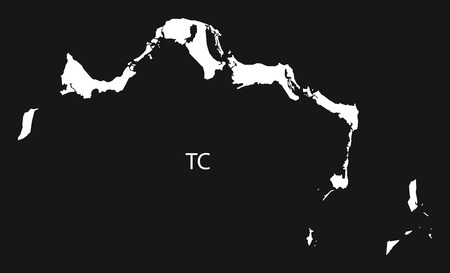 the turks: Turks and Caicos Islands Map black and white illustration