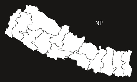 nepal: Nepal with zones Map black and white illustration