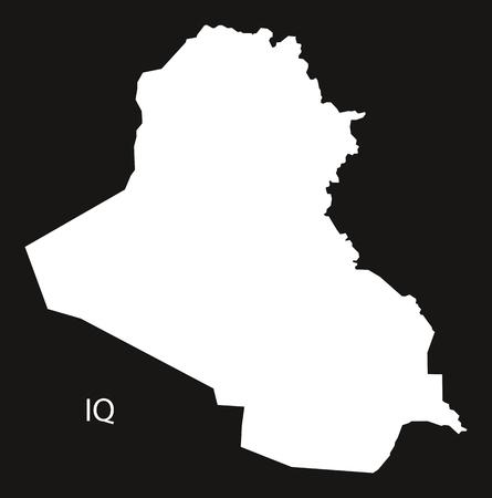 iraq: Iraq Map black and white illustration Illustration