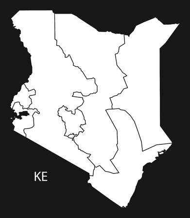 county: Kenya provinces Map black and white illustration
