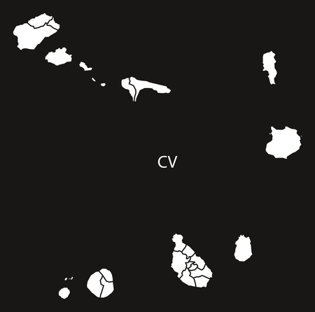 Cape Verde municipalities Map black and white illustration