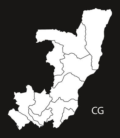 Congo: Congo Republic departments Map black and white illustration