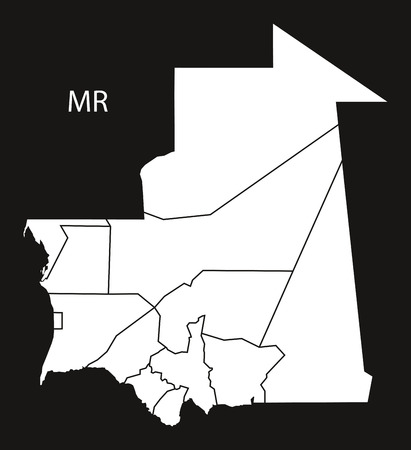 mauritania: Mauritania regions Map black and white illustration