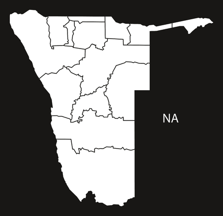 Namibia regions Map black and white illustration