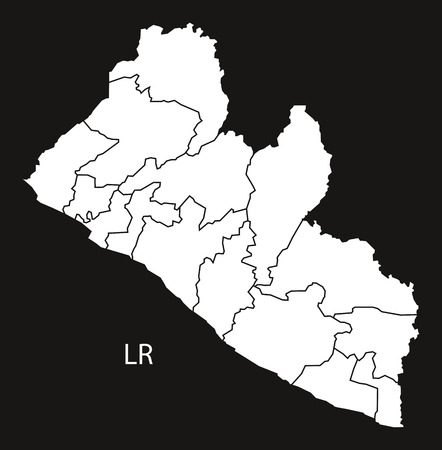 counties: Liberia counties Map black and white illustration