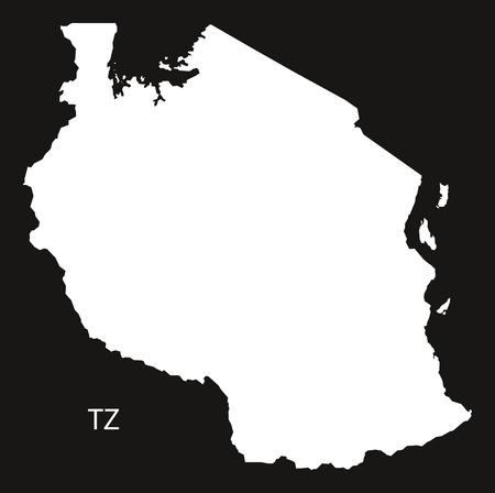 tanzania: Tanzania Map black and white illustration