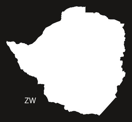 zimbabwe: Zimbabwe Map black and white illustration Illustration