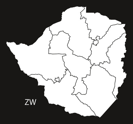 zimbabwe: Zimbabwe provinces Map black and white illustration