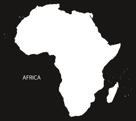 Africa Map black and white illustration