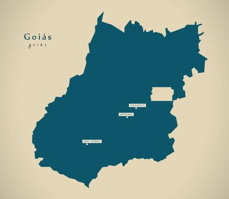 br: Modern Map - Goias BR Brazil Illustration