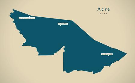 br: Modern Map - Acre BR Brazil Illustration