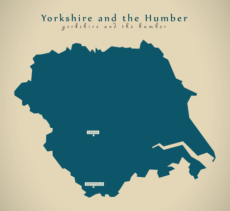 yorkshire and humber: Modern Map - Yorkshire and the humber UK England Illustration Stock Photo