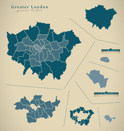 greater: Modern Map - Greater London UK England Illustration