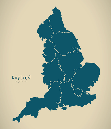 counties: Modern Map - England with counties UK Illustration Stock Photo