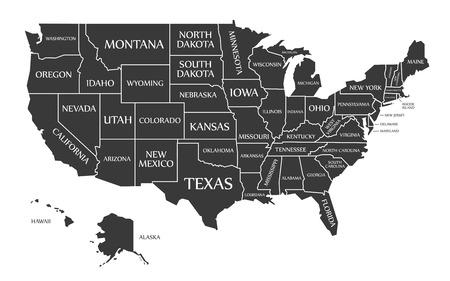 Kaart van de VS met het label zwart