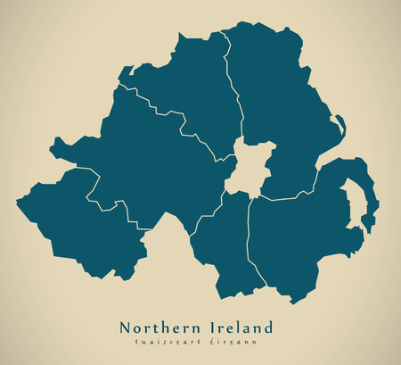 Modern Map - Northern Ireland with counties UK Stock Photo