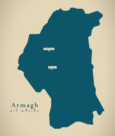 ard: Modern Map - Armagh UK Northern Ireland illustration