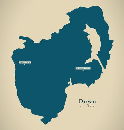 dun: Modern Map - Down UK Northern Ireland illustration