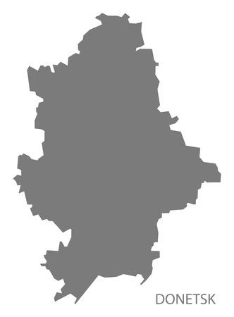 donetsk: Donetsk Ukraine Map grey Illustration