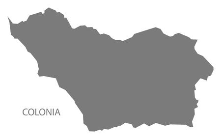 Colonia Uruguay Map in grey