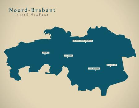 noord brabant: Modern Map - Noord Brabant NL illustration Stock Photo