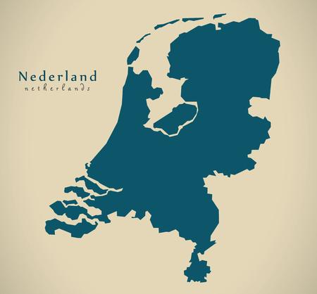 map of netherlands: Modern Map - Netherlands NL illustration Stock Photo