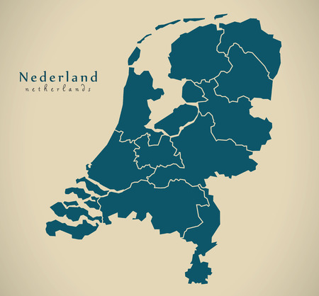 map of netherlands: Modern Map - Netherlands with provinces NL illustration